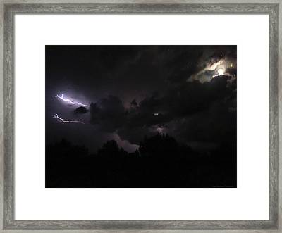 Lightning Dancing With The Moon And Stars By Todd Krasovetz Framed Print