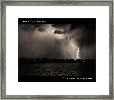 Lightning Energy Poster Print Framed Print by James BO  Insogna