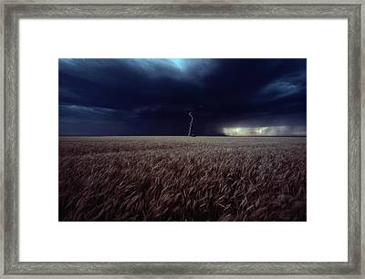 Lightning Flashes Above A Kansas Wheat Framed Print by Cotton Coulson