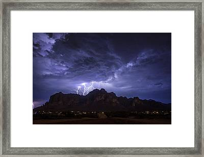 Lightning From Lost Dutchman Boulevard Framed Print by Chuck Brown