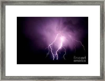 Lightning In The Desert Framed Print