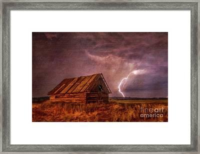 Lightning Landscape By Sarah Kirk Framed Print by Sarah Kirk