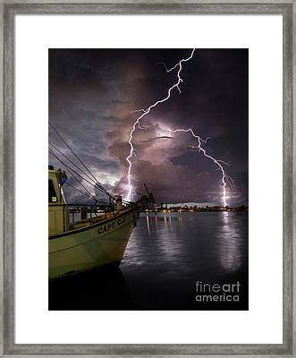 Lightning On The Capt. Cj Framed Print