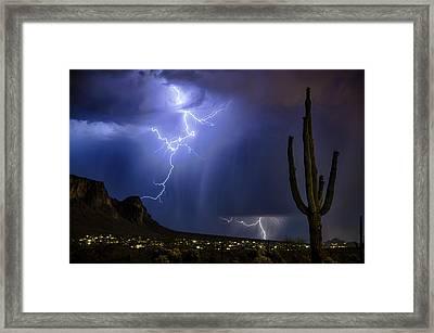 Lightning On The Mountain  Framed Print