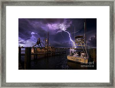 Lightning On The Sea Hab Framed Print
