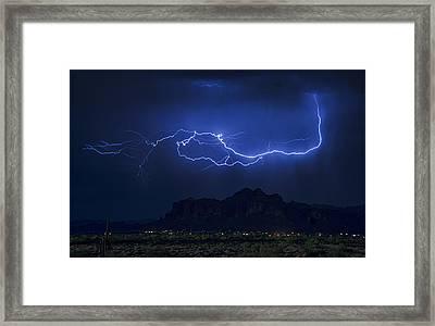 Lightning On The Superstitions  Framed Print