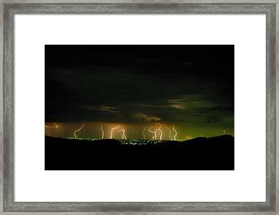 Lightning Over Denver Framed Print by Jerry McElroy