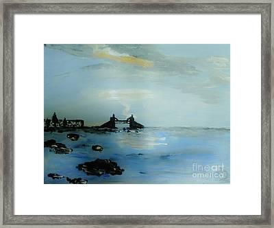 Lightning Over Lake Erie Framed Print by Marie Bulger