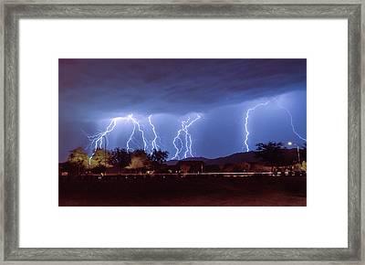 Lightning Over Laveen Framed Print