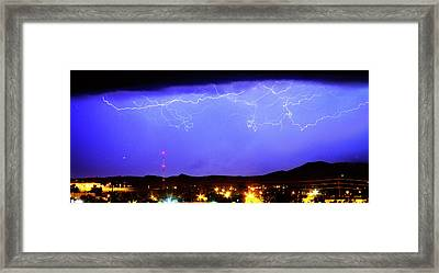 Lightning Over Loveland Colorado Foothills Panorama Framed Print by James BO  Insogna