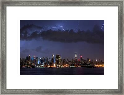 Lightning Over New York City I Framed Print by Clarence Holmes