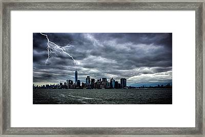 Lightning Over New York Framed Print by Martin Newman