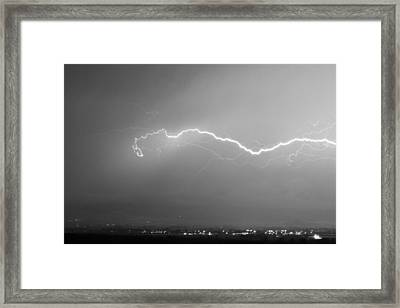 Lightning Over North Boulder Colorado  Ibm Bw Framed Print by James BO  Insogna
