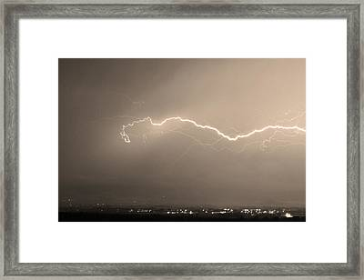 Lightning Over North Boulder Colorado  Ibm Sepia Framed Print