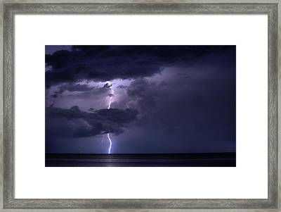 Lightning Over Pensacola Bay Framed Print