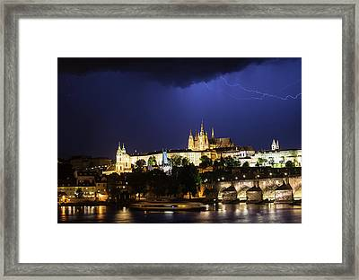 Framed Print featuring the photograph Lightning Over Prague Castle by Alex Lapidus