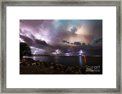 Lightning Over The Sanibel Bridge Framed Print