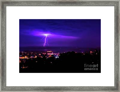Lightning Over Superior Framed Print