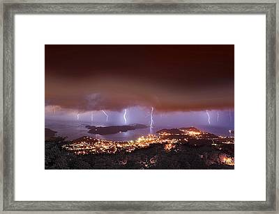 Lightning Over Water Island Framed Print