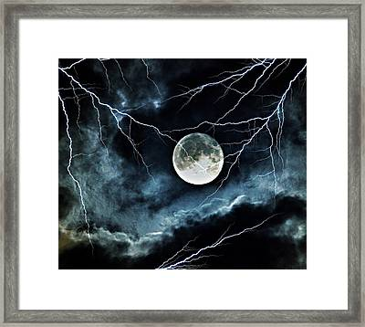 Lightning Sky At Full Moon Framed Print by Marianna Mills