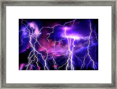 Lightning Storm 1 Framed Print by Steve Ohlsen