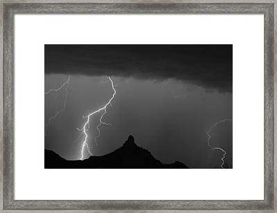 Lightning Storm At Pinnacle Peak Scottsdale Az Bw Framed Print