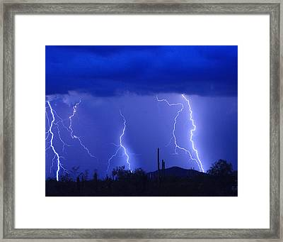 Lightning Storm In The Desert Fine Art Photography Print Framed Print by James BO  Insogna