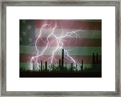 Lightning Storm In The Usa Desert Flag Background Framed Print by James BO  Insogna