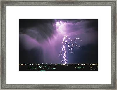 Lightning Storm Framed Print by Leland D Howard
