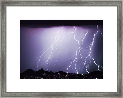 Lightning Storm North Scottsdale Az 85255 Framed Print by James BO  Insogna