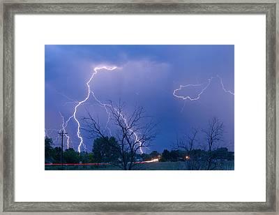 Lightning Storm On 17th Street Fine Art Print Framed Print by James BO  Insogna