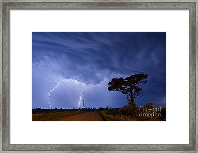Lightning Storm On A Lonely Country Road Framed Print