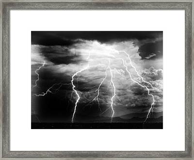 Framed Print featuring the photograph Lightning Storm Over The Plains by Joseph Frank Baraba