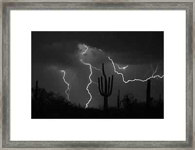 Lightning Storm Saguaro Fine Art Bw Photography Framed Print