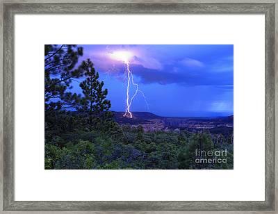 Lightning Strike Above Arch Canyon - Utah Framed Print