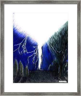 Lightning Strike Framed Print by Bob Schmidt
