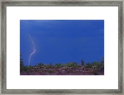 Lightning Strike In The Desert Framed Print by James BO  Insogna