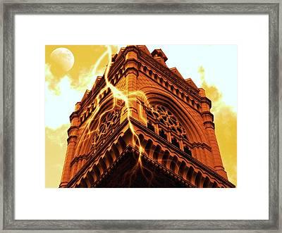Lightning Strikes Framed Print by Cathie Tyler
