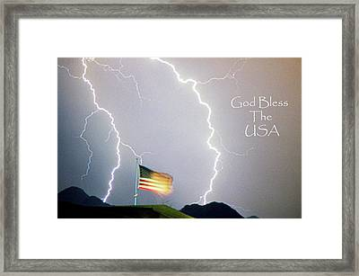 Lightning Strikes God Bless The Usa Framed Print by James BO  Insogna