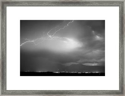 Lightning Strikes Over Boulder Colorado Bw Framed Print