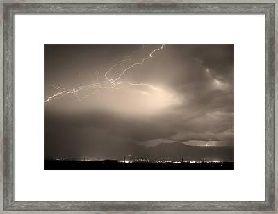 Lightning Strikes Over Boulder Colorado Sepia Framed Print