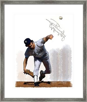 Lightning Strikes Ron Guidry Framed Print by Iconic Images Art Gallery David Pucciarelli