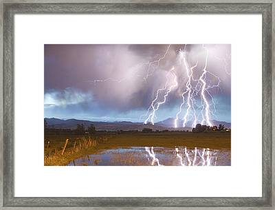 Lightning Striking Longs Peak Foothills 4 Framed Print