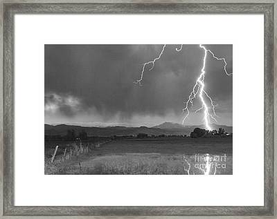Lightning Striking Longs Peak Foothills 5bw Framed Print