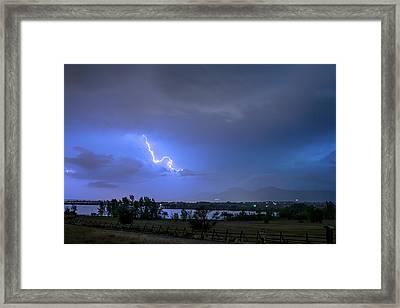 Framed Print featuring the photograph Lightning Striking Over Boulder Reservoir by James BO Insogna