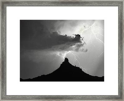 Lightning Striking Pinnacle Peak Arizona Framed Print