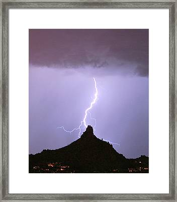 Lightning Striking Pinnacle Peak Scottsdale Az Framed Print