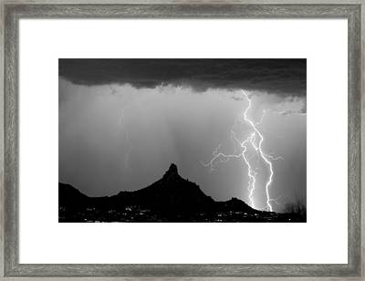 Lightning Thunderstorm At Pinnacle Peak Bw Framed Print
