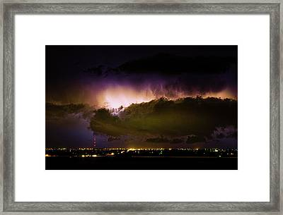 Lightning Thunderstorm Cloud Burst Framed Print
