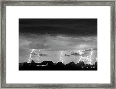 Lightning Thunderstorm July 12 2011 Strikes Over The City Bw Framed Print by James BO  Insogna